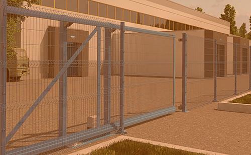 Откатные ворота из Т-профиля с заполнением сварной сеткой