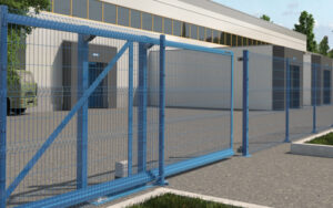 Откатные ворота со стальной рамой и с заполнением сварной сеткой ГК Регион-Гарант