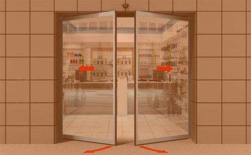 Производство автоматических раздвижных дверей «Антипаника» с функцией распахивания створок ГК Регион-Гарант